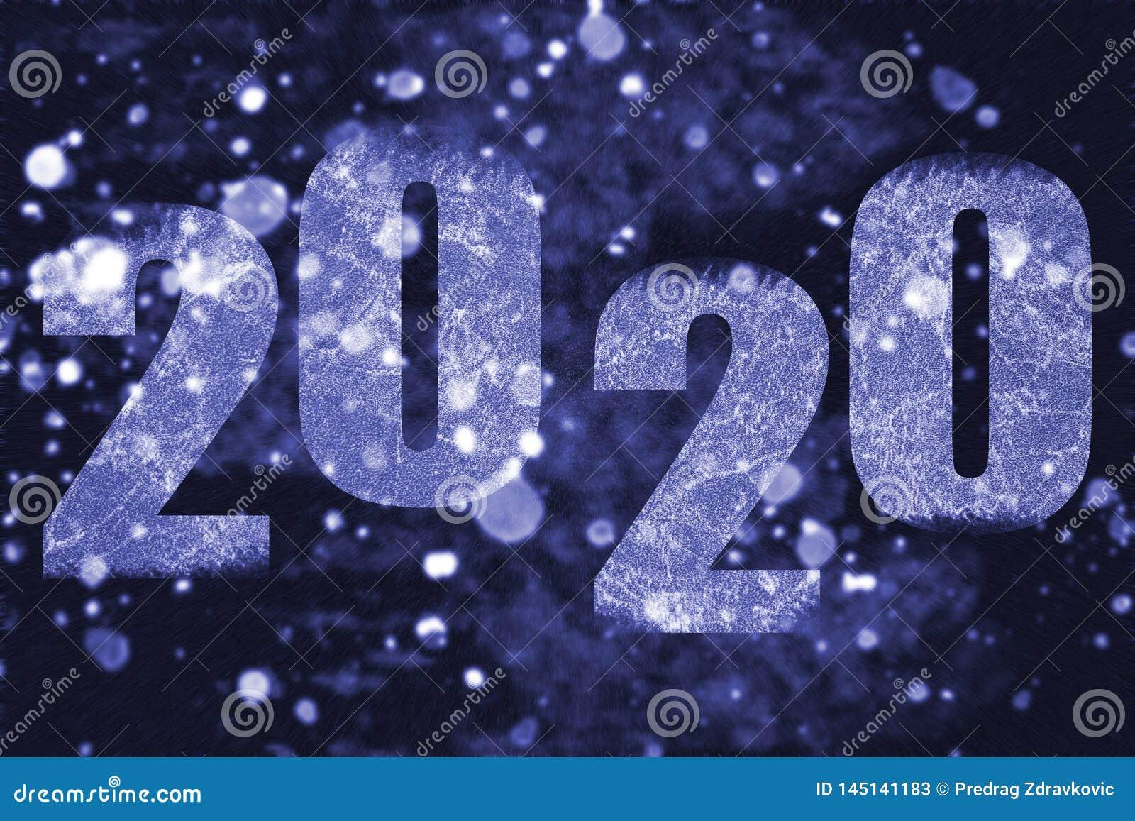 Tempête de neige de nuit avec l inscription 2020