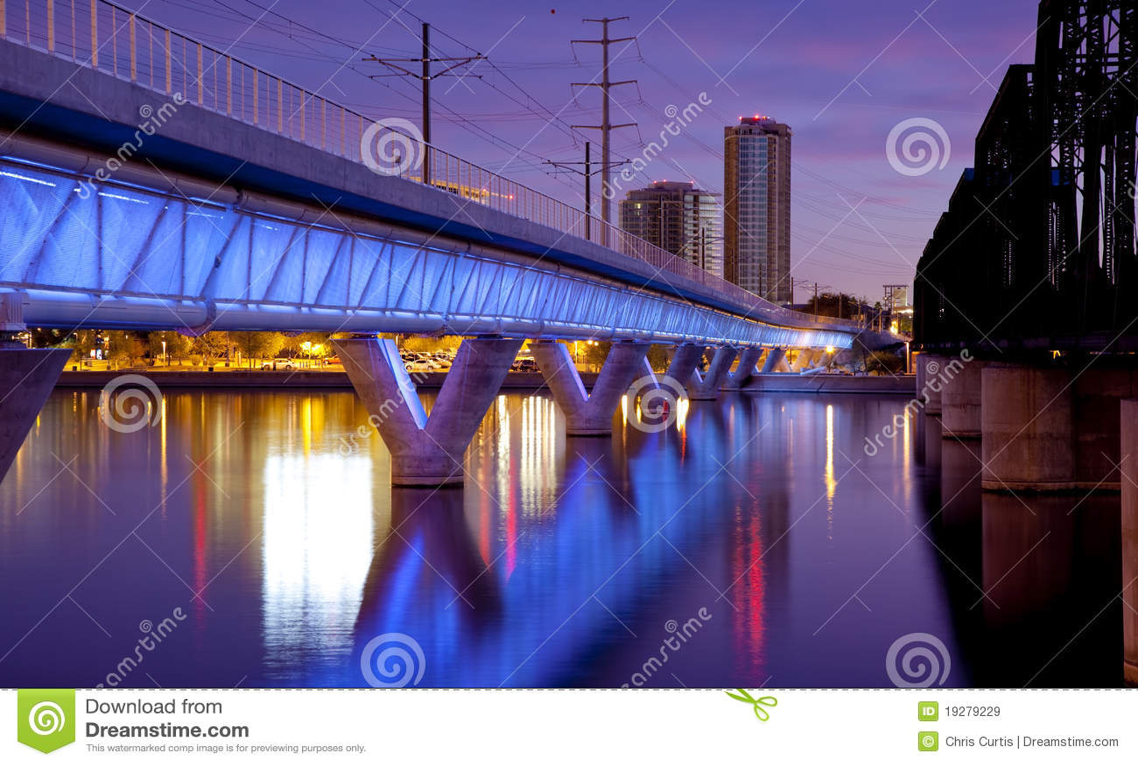 Tempe Arizona Light Rail Bridge and City