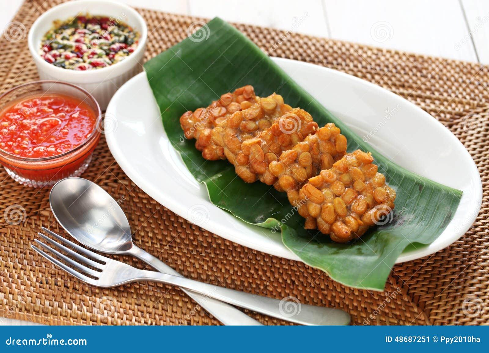 Tempe goreng, gebraden tempeh, Indonesisch vegetarisch voedsel