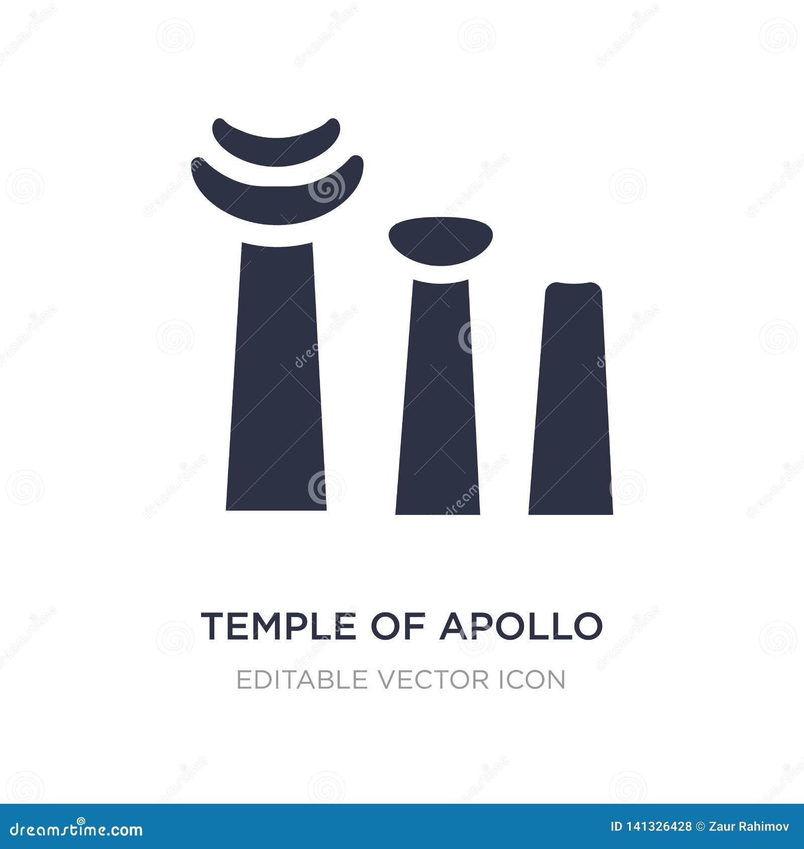 Tempel van Apollo-pictogram op witte achtergrond Eenvoudige elementenillustratie van Monumentenconcept