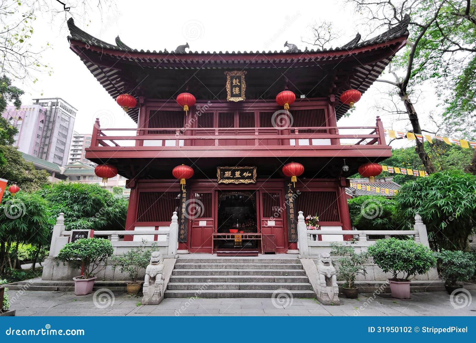 Tempelbyggnad på det Guangxiao tempelkomplexet, Guangzhou, haka