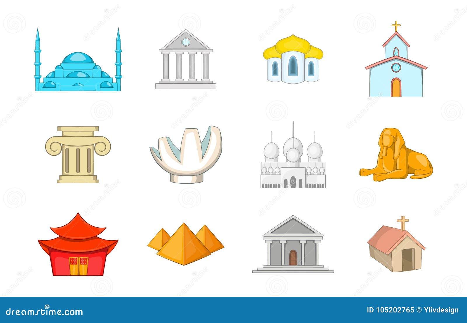 Tempelsymbolsuppsättning, tecknad filmstil