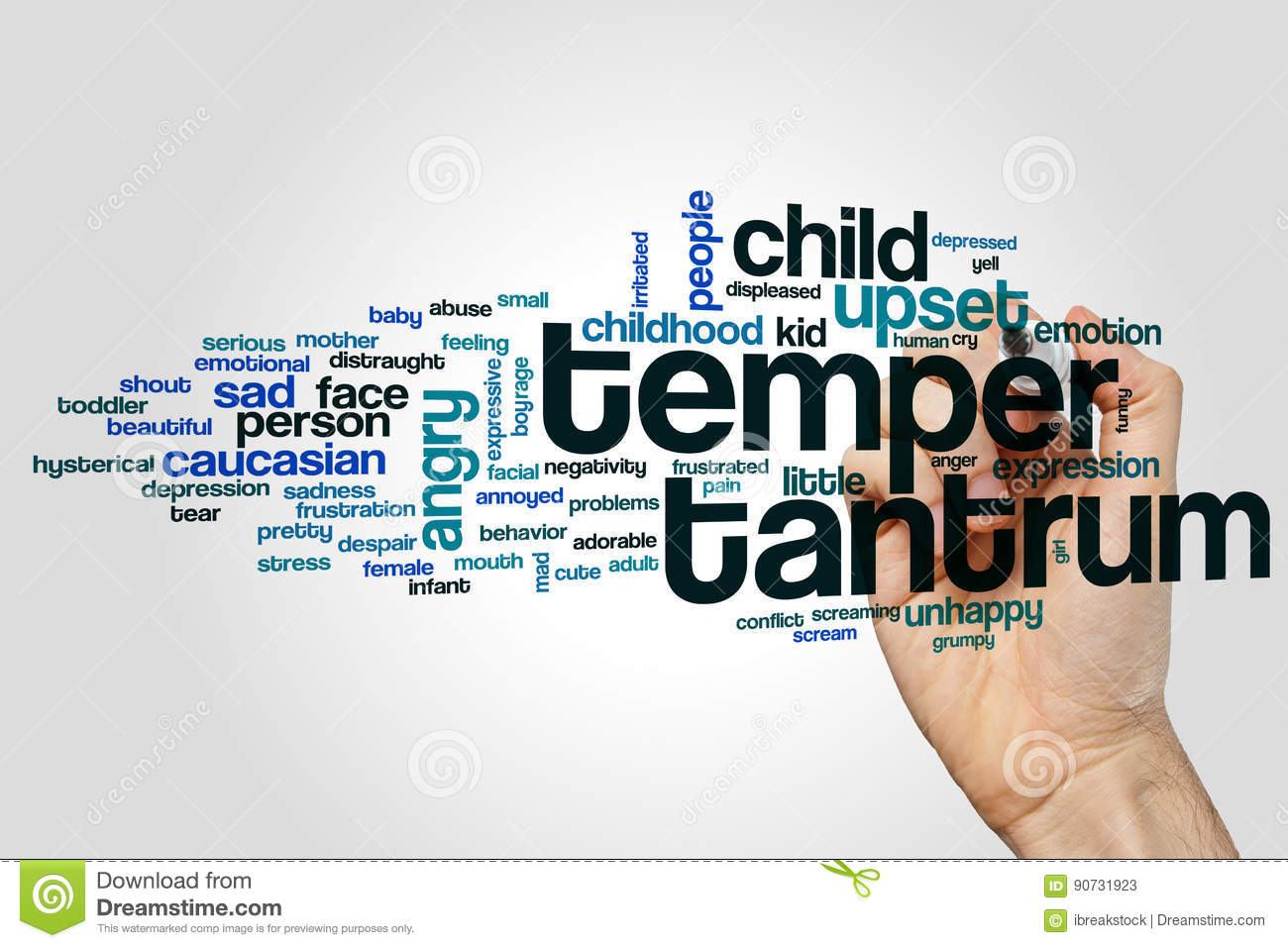Temper tantrum word cloud stock image  Image of behavior