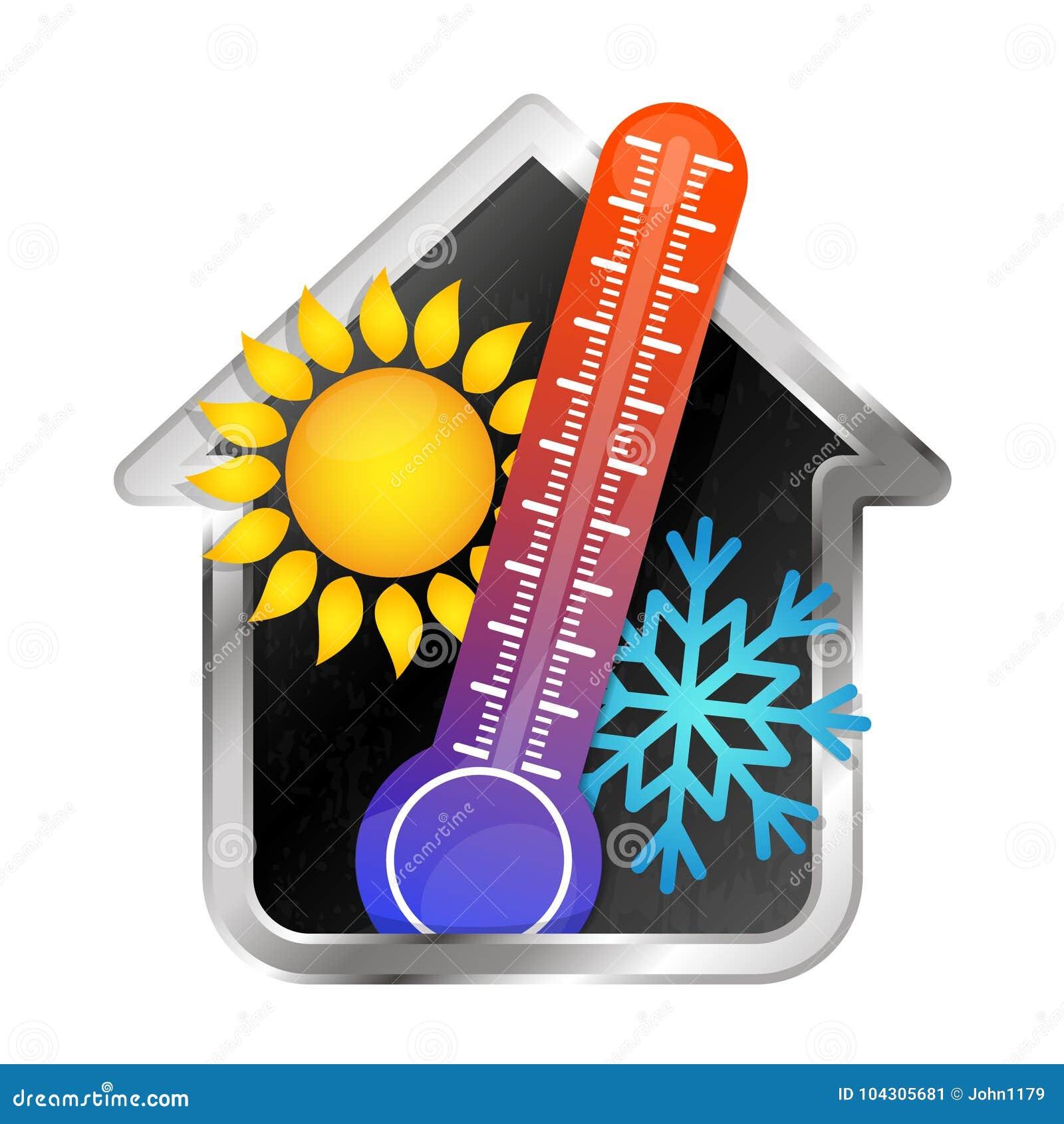 Temperatur In Der Hausklimaanlage Und Heizung Vektor Abbildung