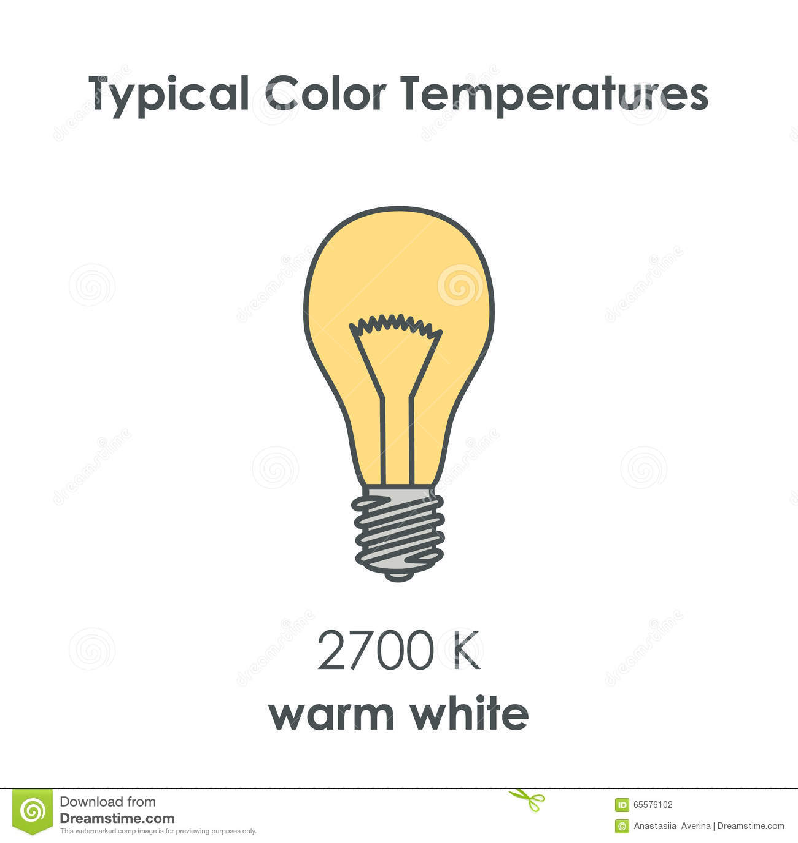 Temperatura de cor típica do bulbo Vetor