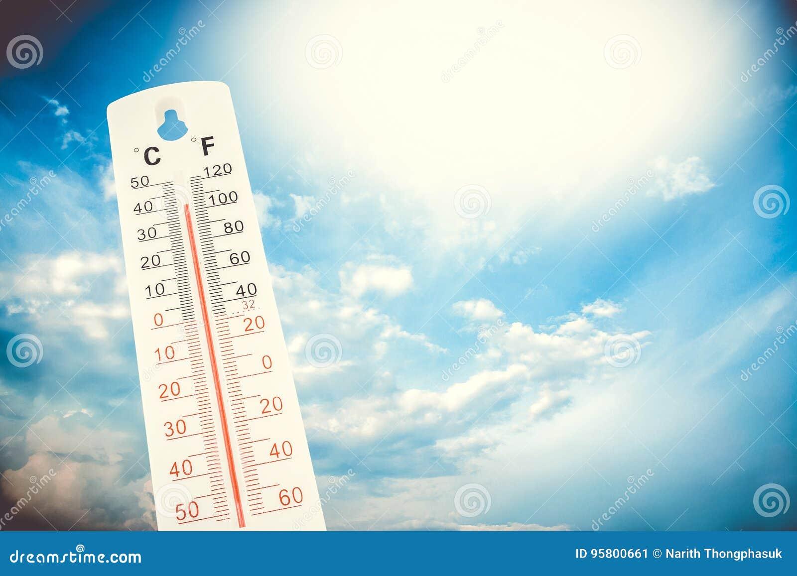 Temperatura Tropical, Medida Em Um Termômetro Exterior ...