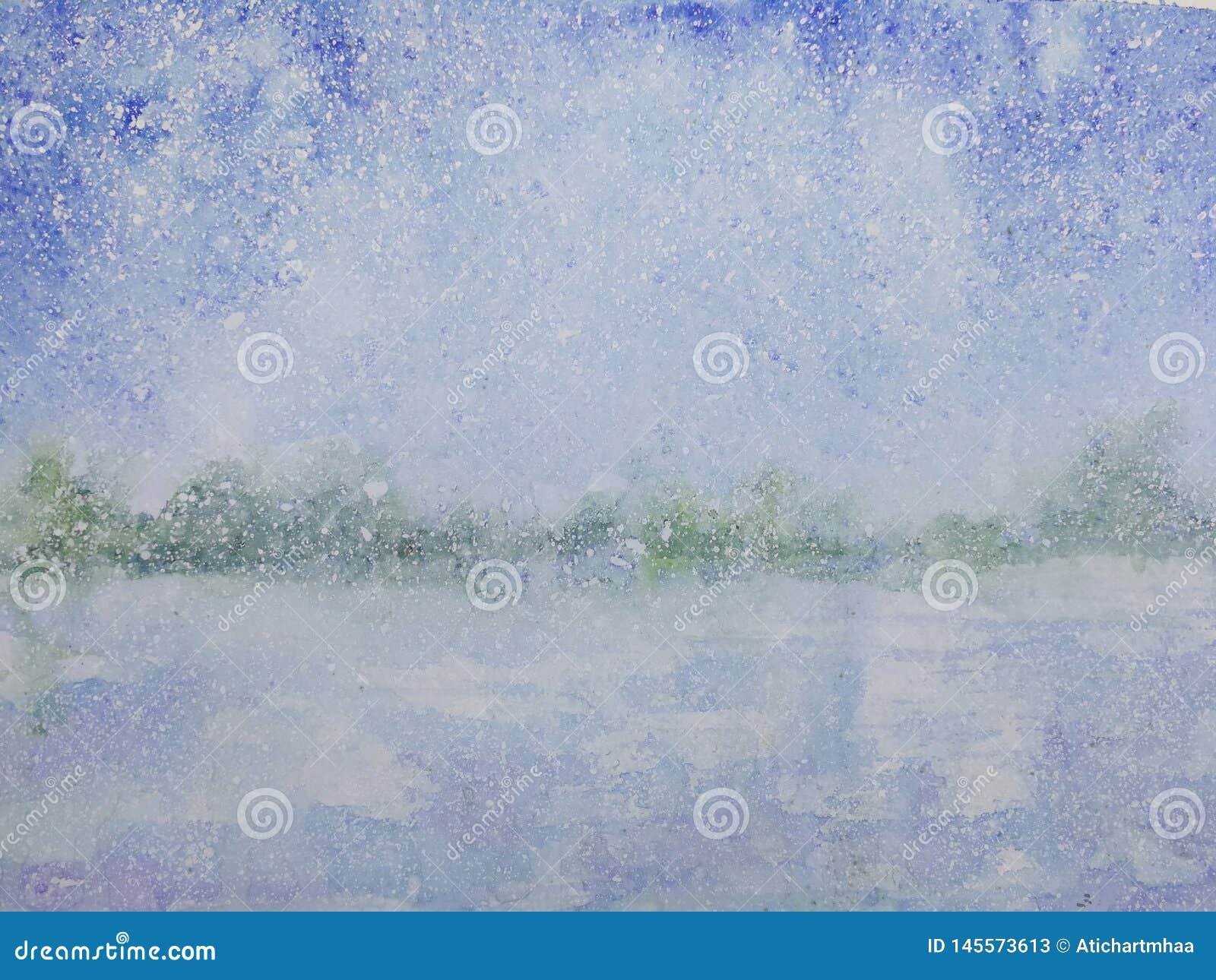 Tempesta della neve di stagione invernale del paesaggio