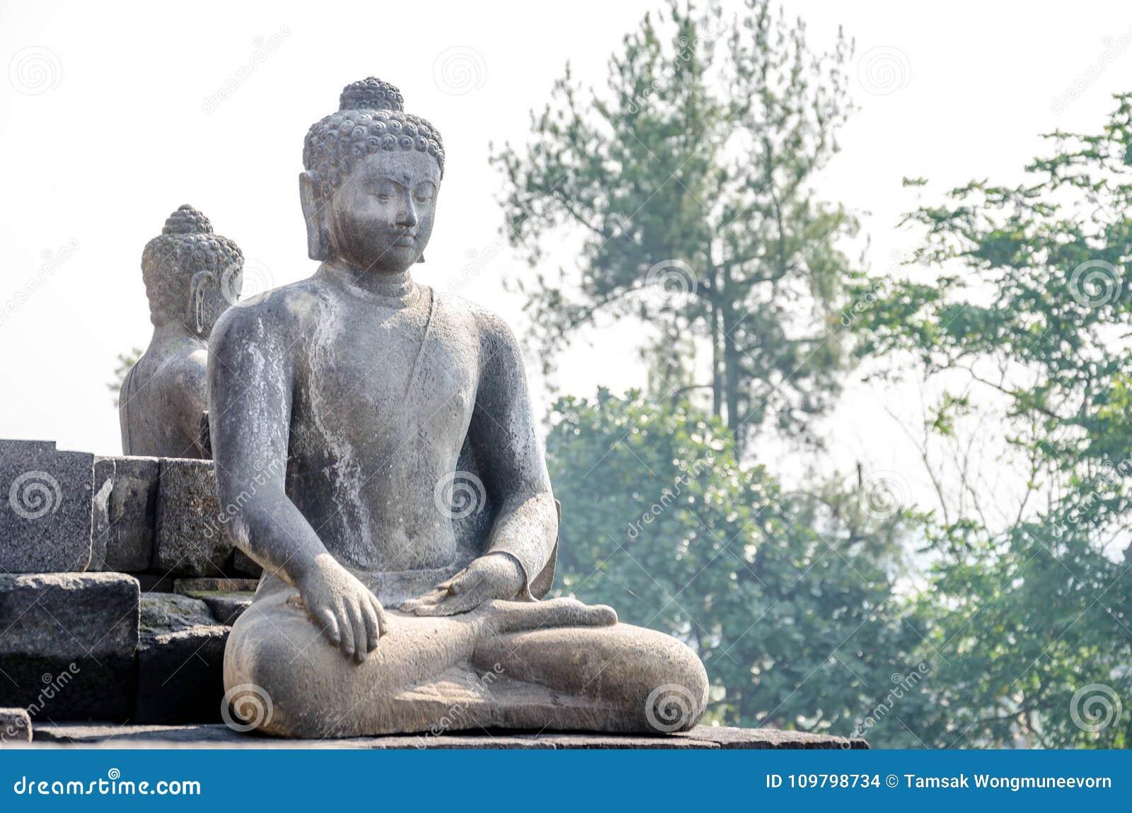 Tempio di Borobudur della statua di Buddha a Yogyakarta, Java, Indonesia