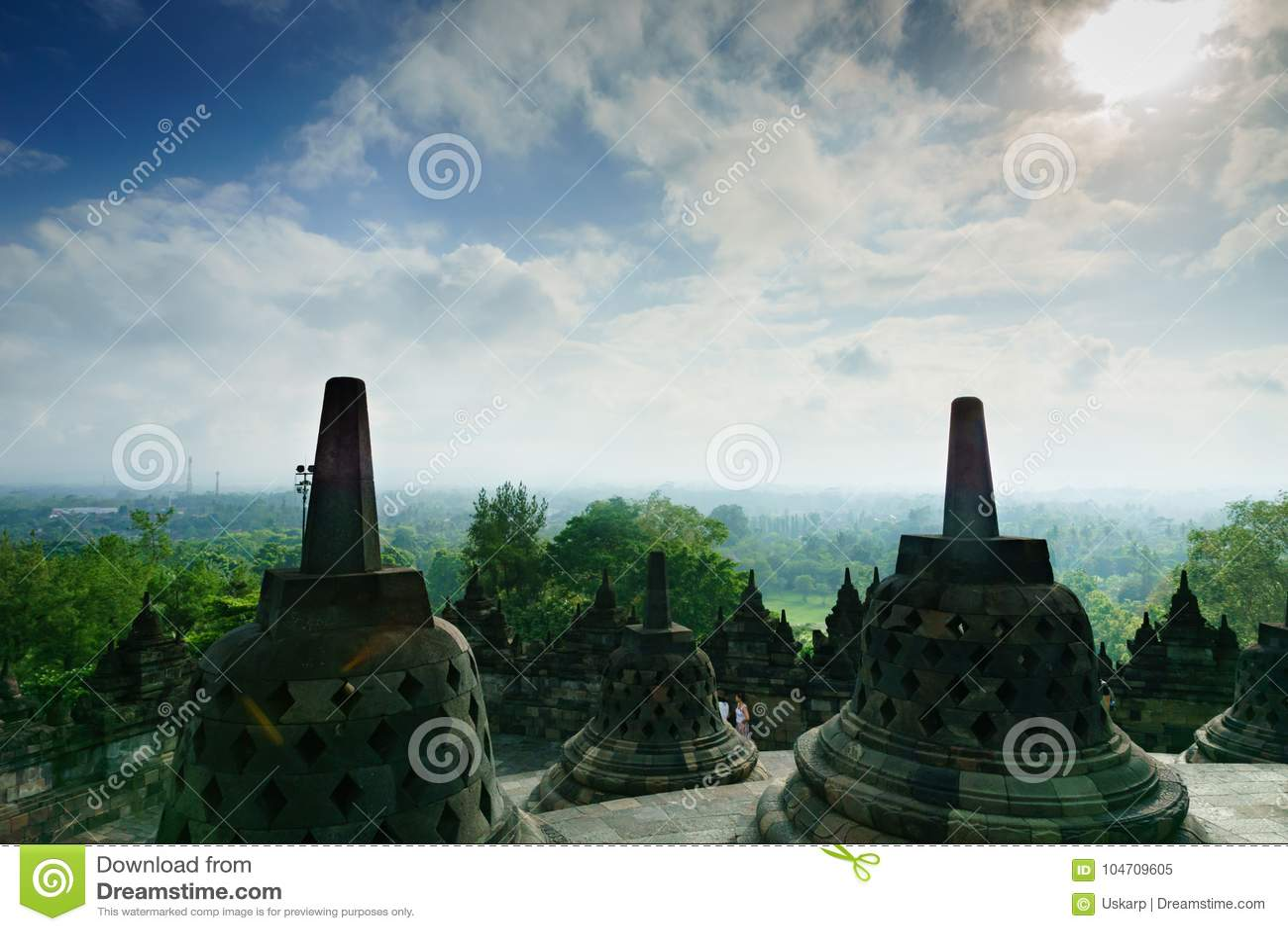 Tempio di Borobudur a Yogyakarta, Java, Indonesia