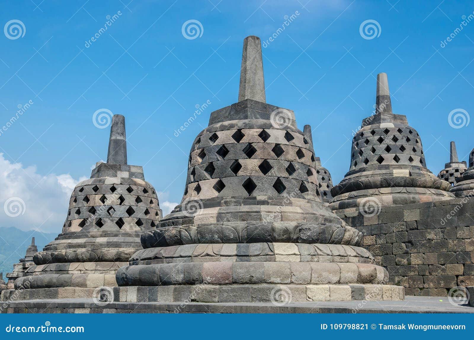 Tempio di Buddist Borobudur di eredità, Java centrale, Yogyakarta, Indo