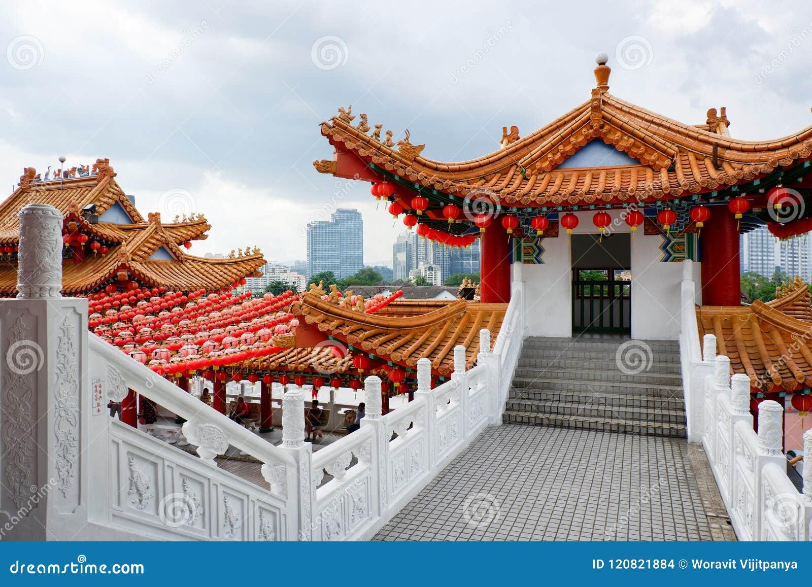 Decorazioni Con Lanterne Cinesi : Tempio di thean hou decorato con le lanterne cinesi rosse kuala