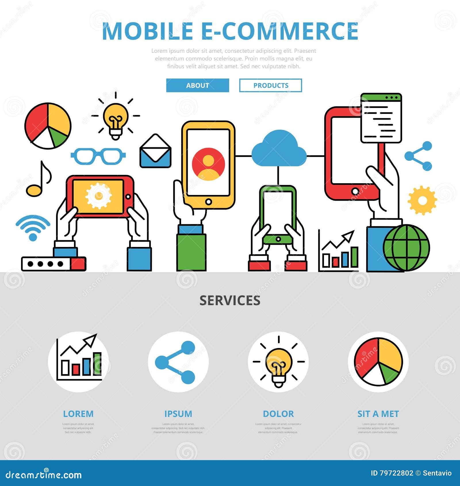 Templat mobile piano lineare di infographics di commercio elettronico