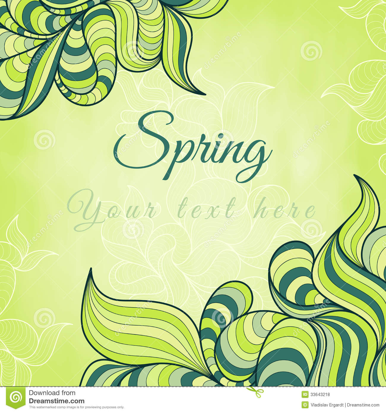 Template With Abstract Wavy Striped Leaves Vector Image – Spring or Summer Theme Invitation Cards
