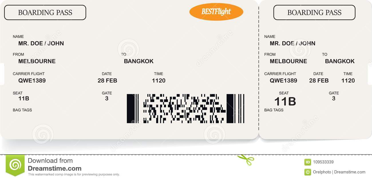 Template Of Airline Boarding Pass Ticket Stock Vector