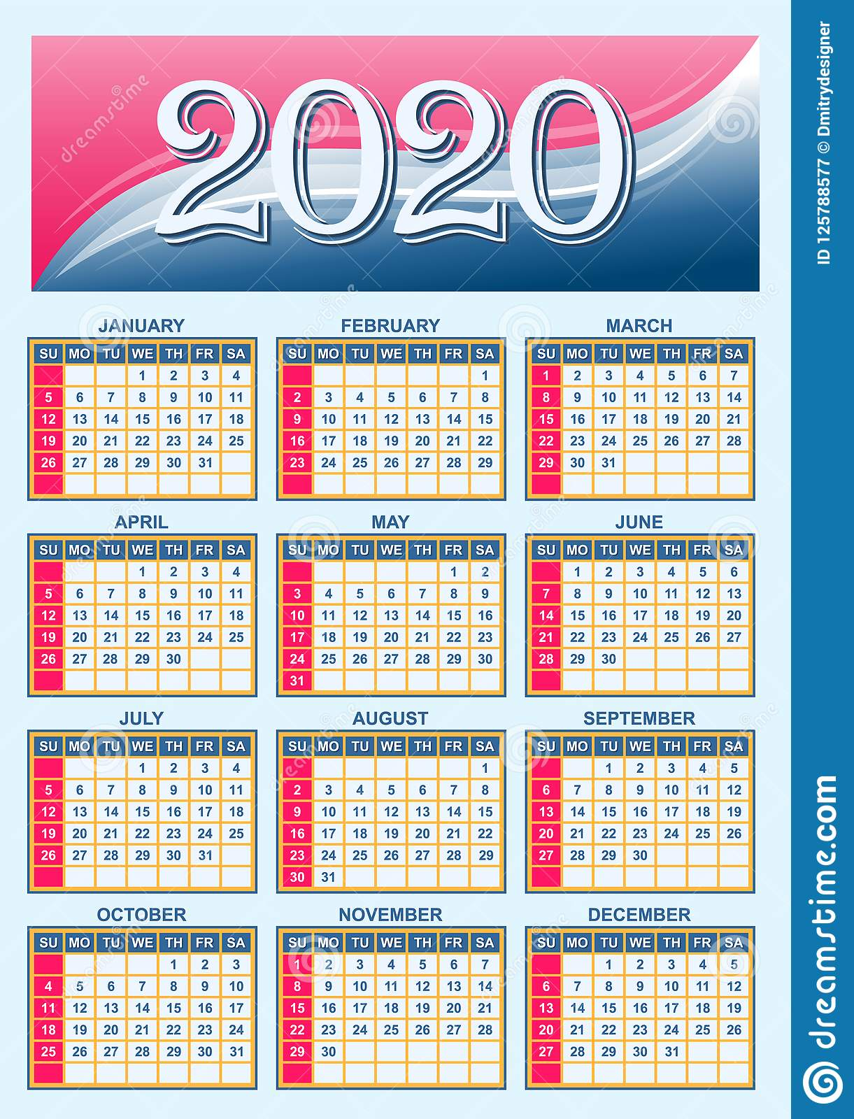 American Calendar 2020 American Calendar Grid For 2020 Stock Vector   Illustration of