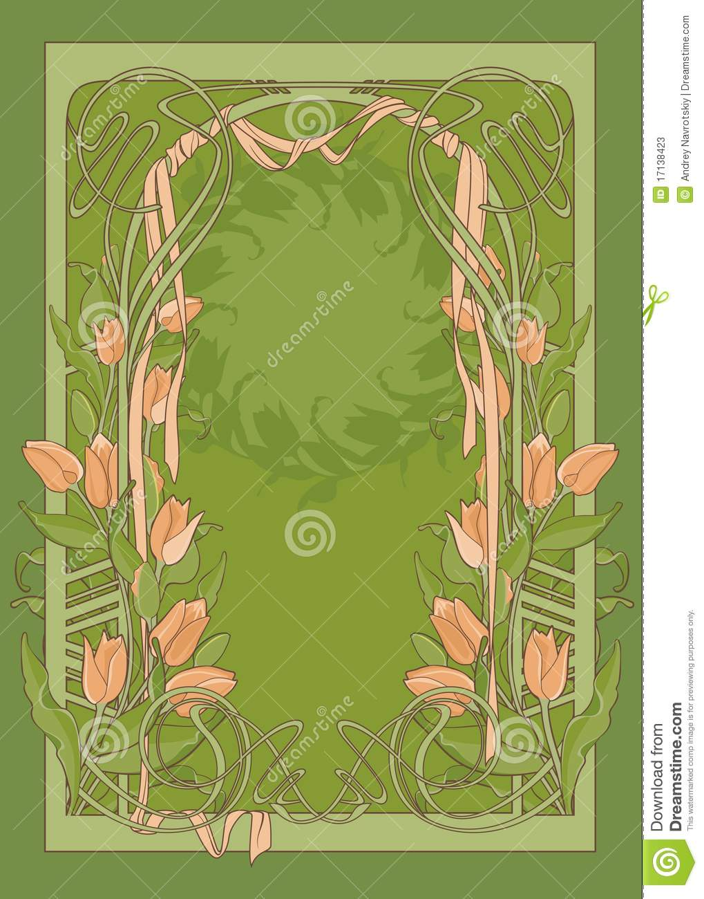 template of art deco poster with tulips stock photos