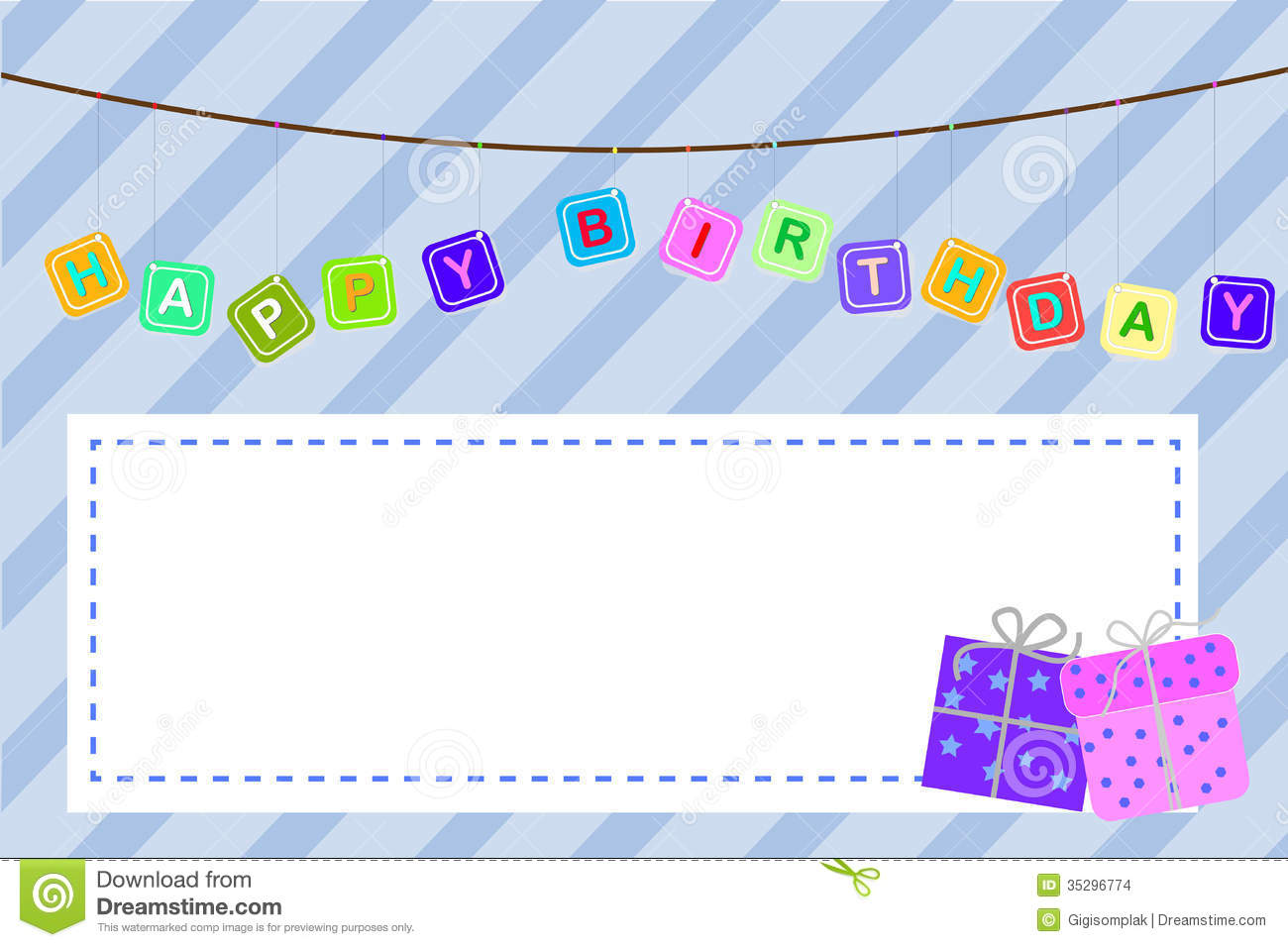 Template Baby Birthday Greeting Card Stock Images - Image: 35296774