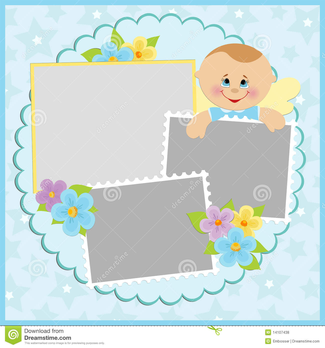 Template For Baby S Photo Album. Border, Cartoon.  Free Album Templates