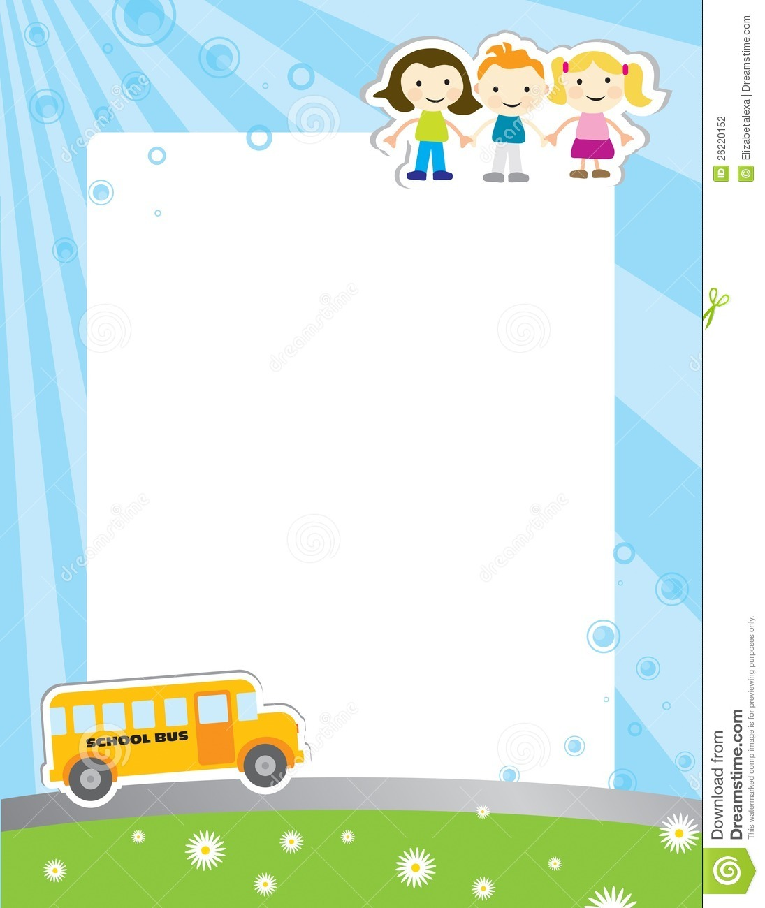 template background for school poster with illustration of three kids