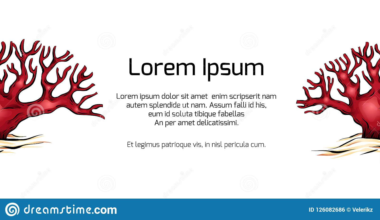 template banner with cartoon colorful illustration of corals stock