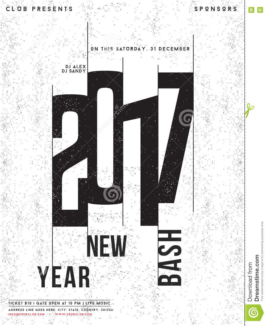 template banner or flyer for new year party