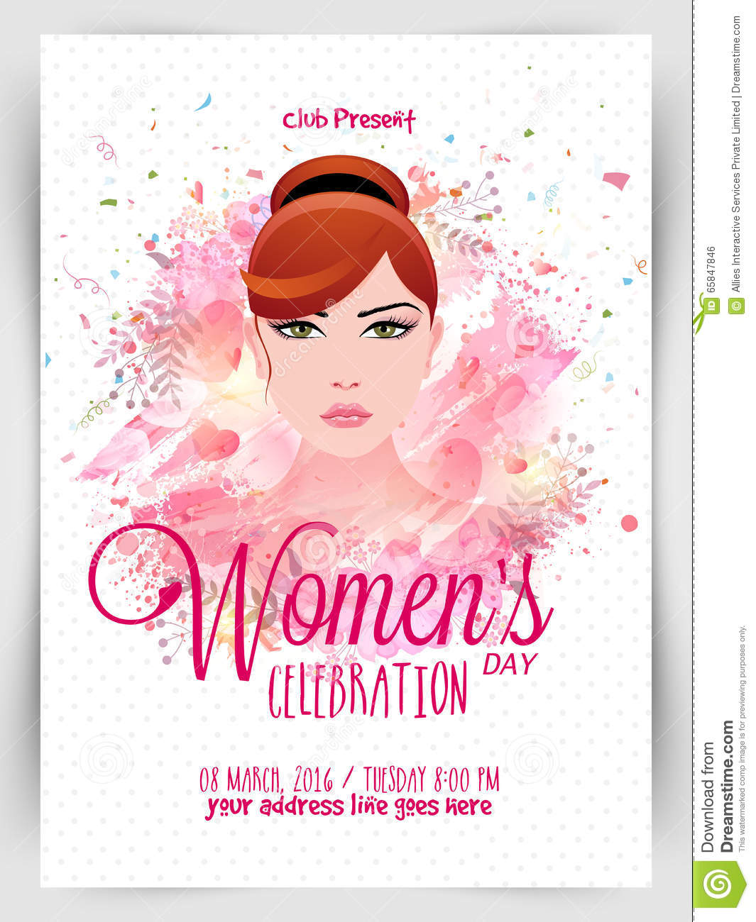 Template, Banner Or Flyer For Women's Day. Stock ...