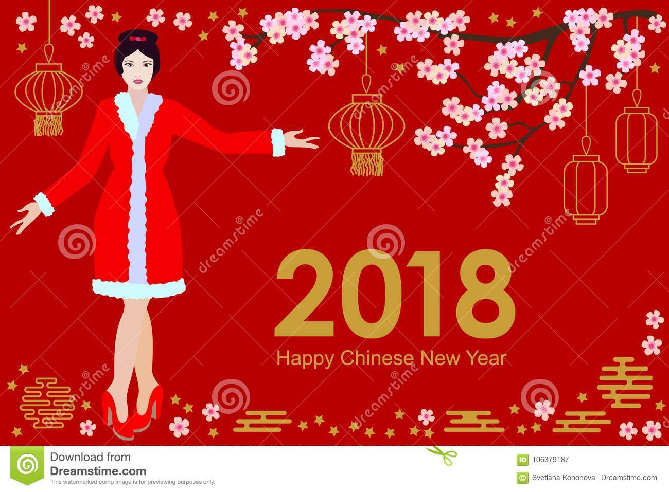 Happy Chinese New Year Card Beautiful Asian Girl In Festive Dress