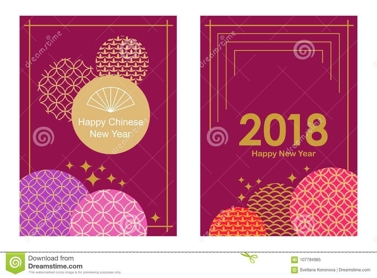 download happy chinese new year cards set colorful abstract geometric ornaments on purple background