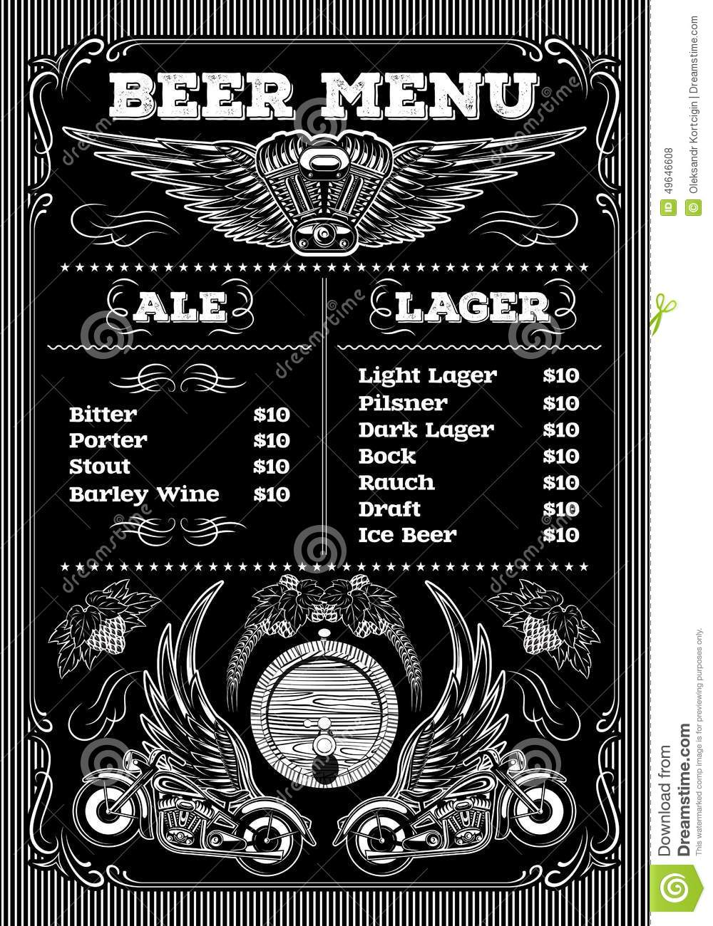 Template For The Beer Menu On Black Background With