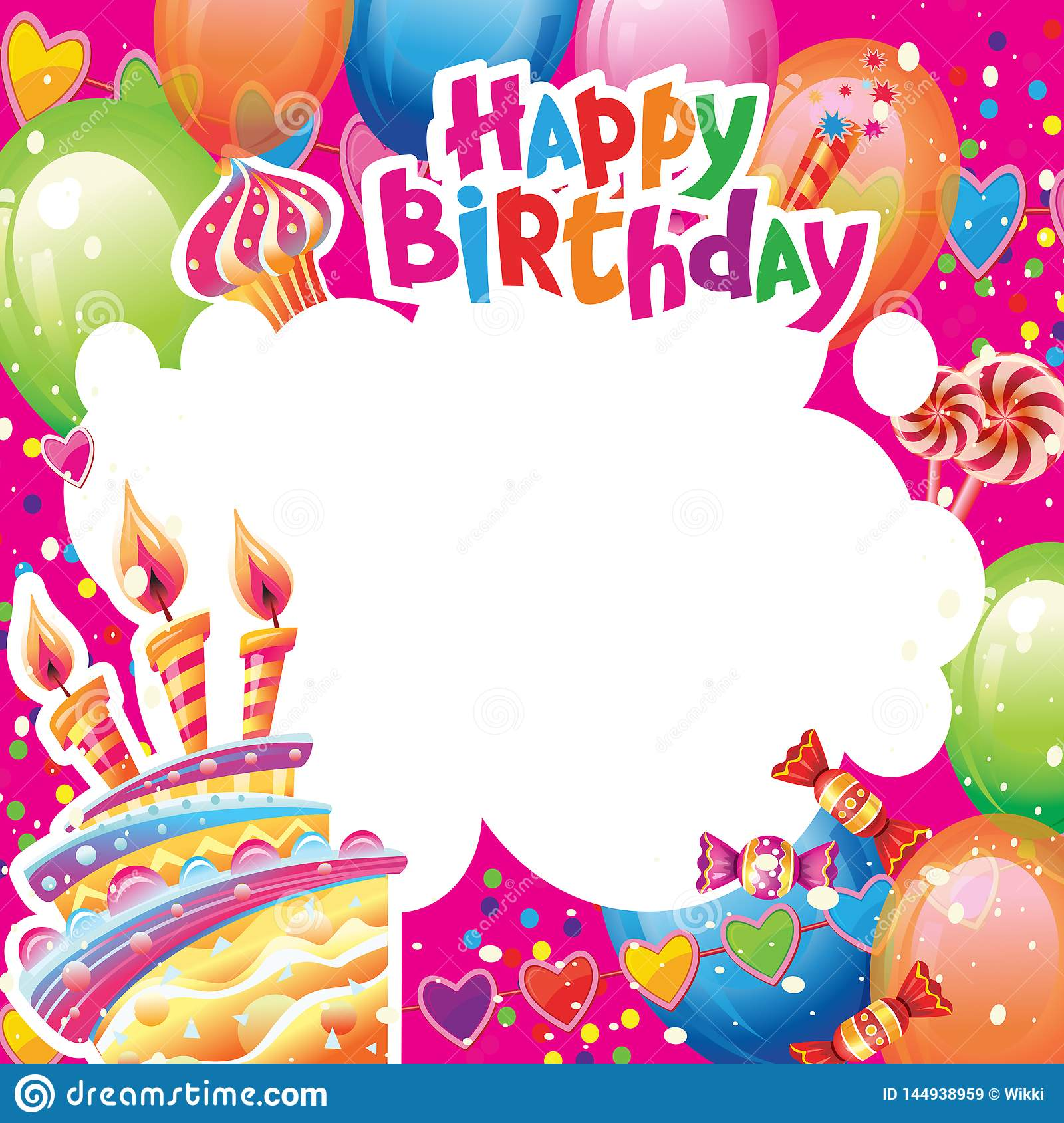 Marvelous Template For Birthday Card With Place For Text Stock Vector Personalised Birthday Cards Bromeletsinfo