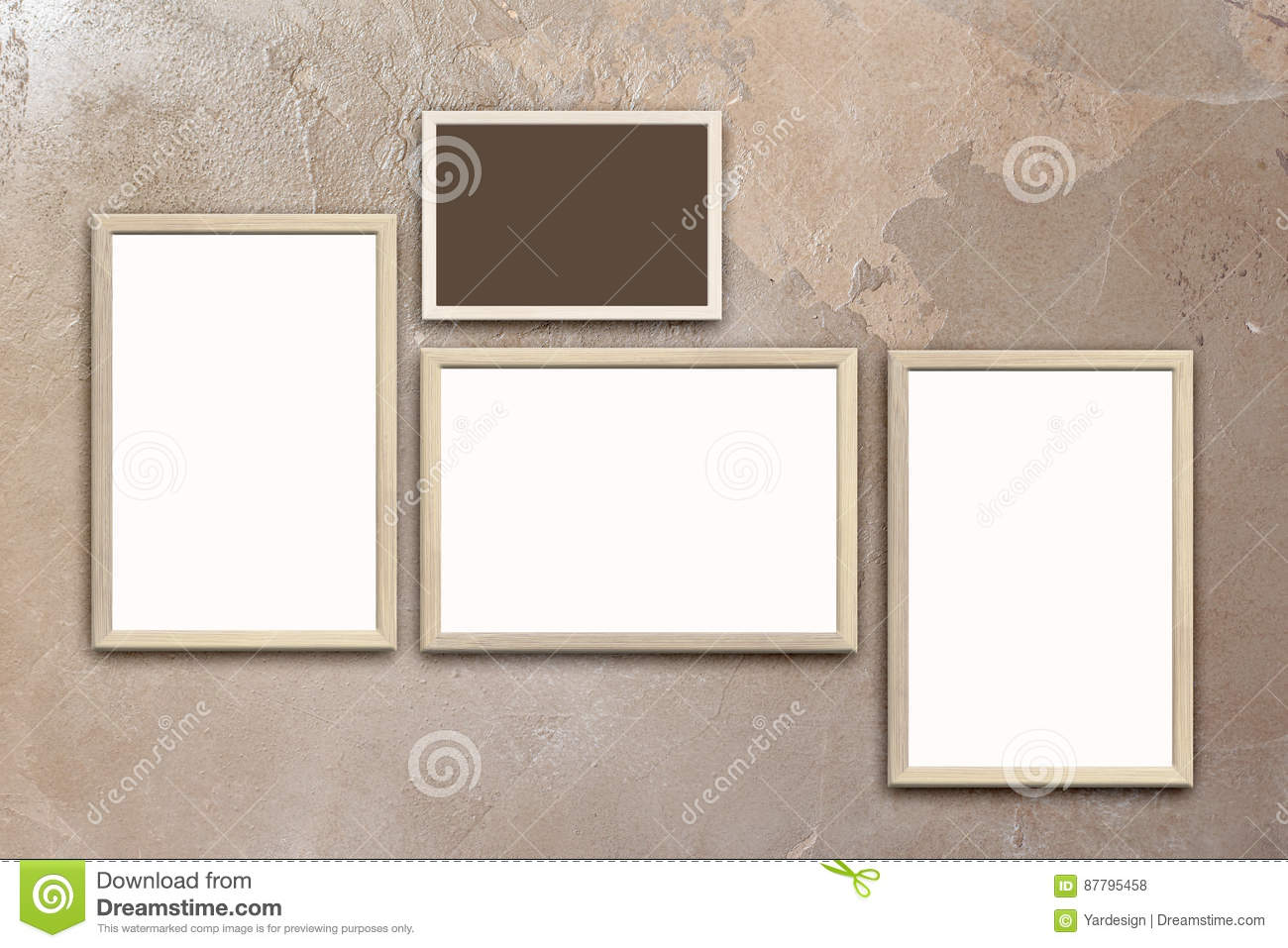 Template Of Blank Posters In Wooden Frames On Texturized Brown ...