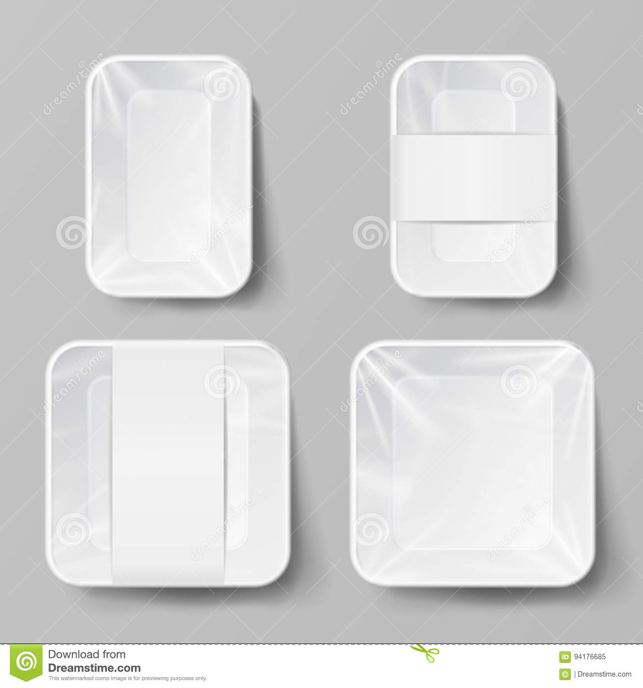 Template Blank White Plastic Food Container Set. Vector Mock Up ...