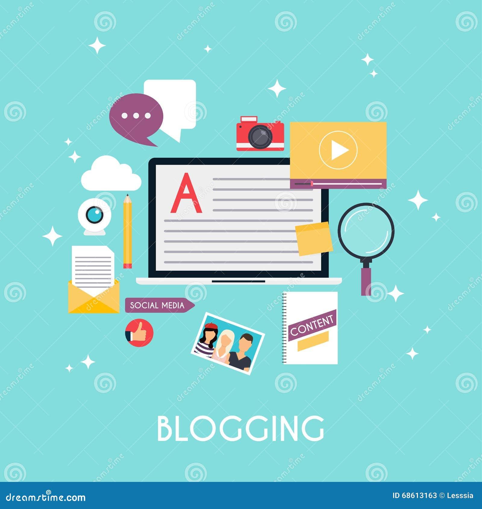 Template blogging infographics. Blog concept design. Flat design