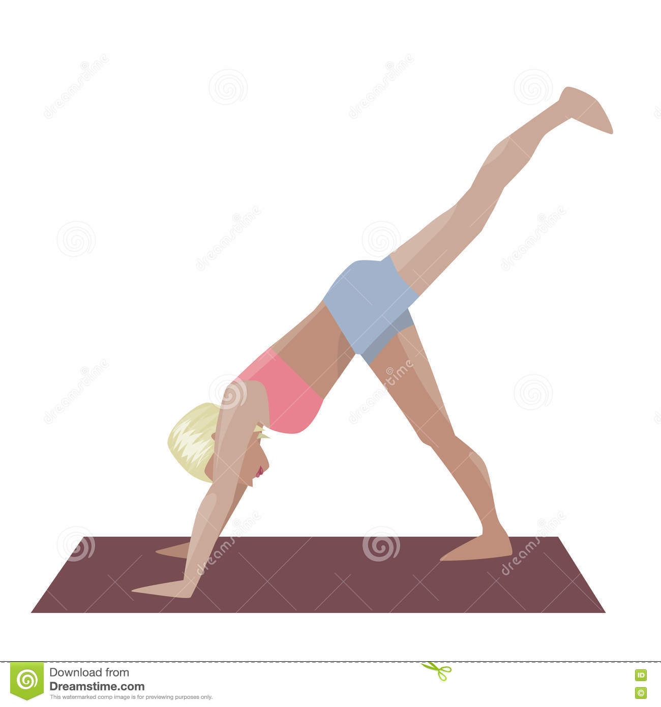 Template With Blonde Girl Doing Yoga Exercises Good For