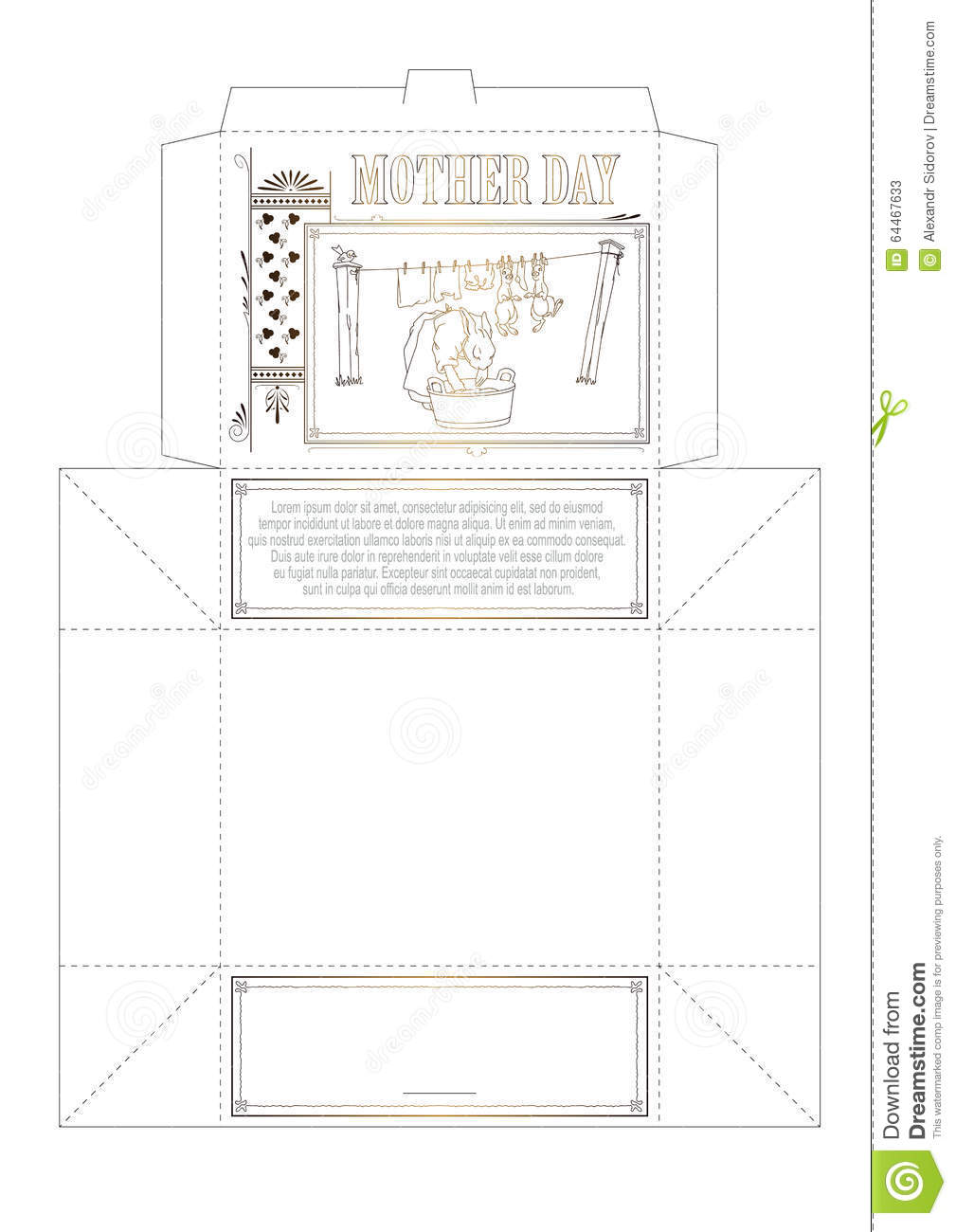 template box mother day mother rabbit washes clothes and child
