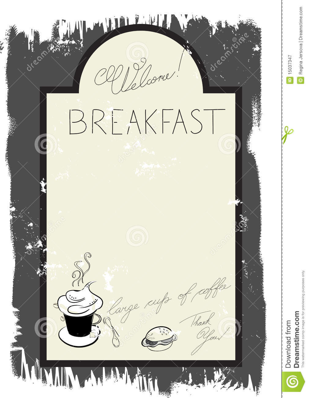 template for breakfast menu stock vector