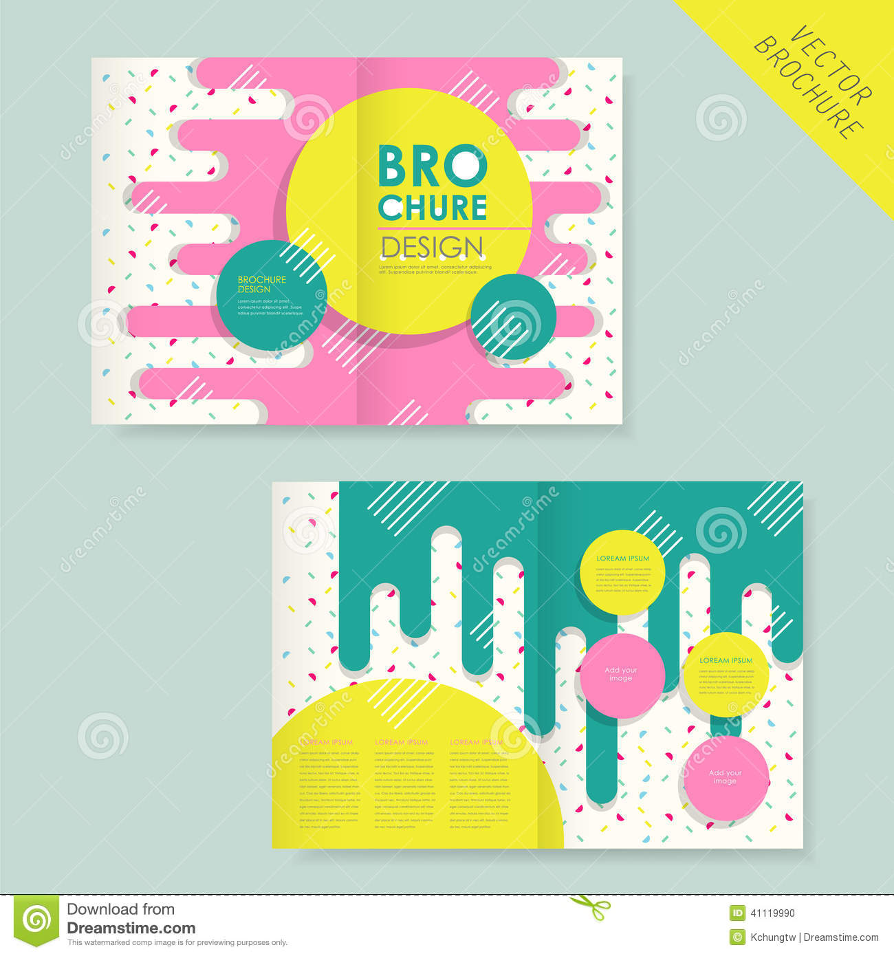 template of brochure design with spread pages stock vector