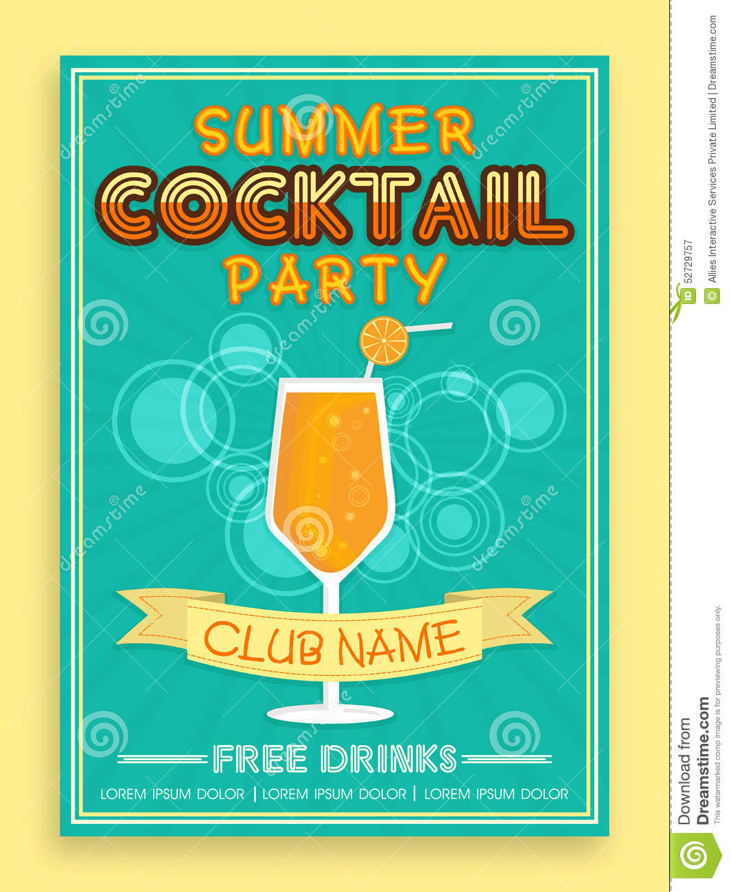 Template brochure or flyer design for cocktail party for Summer drinks for party
