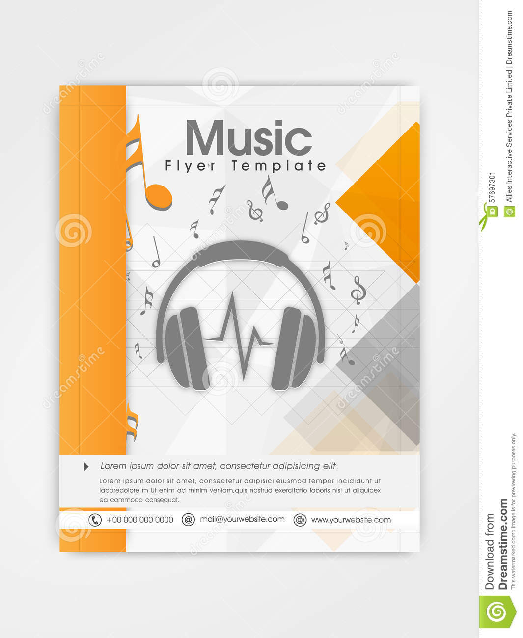 Template brochure or flyer design for music stock for Music brochure templates