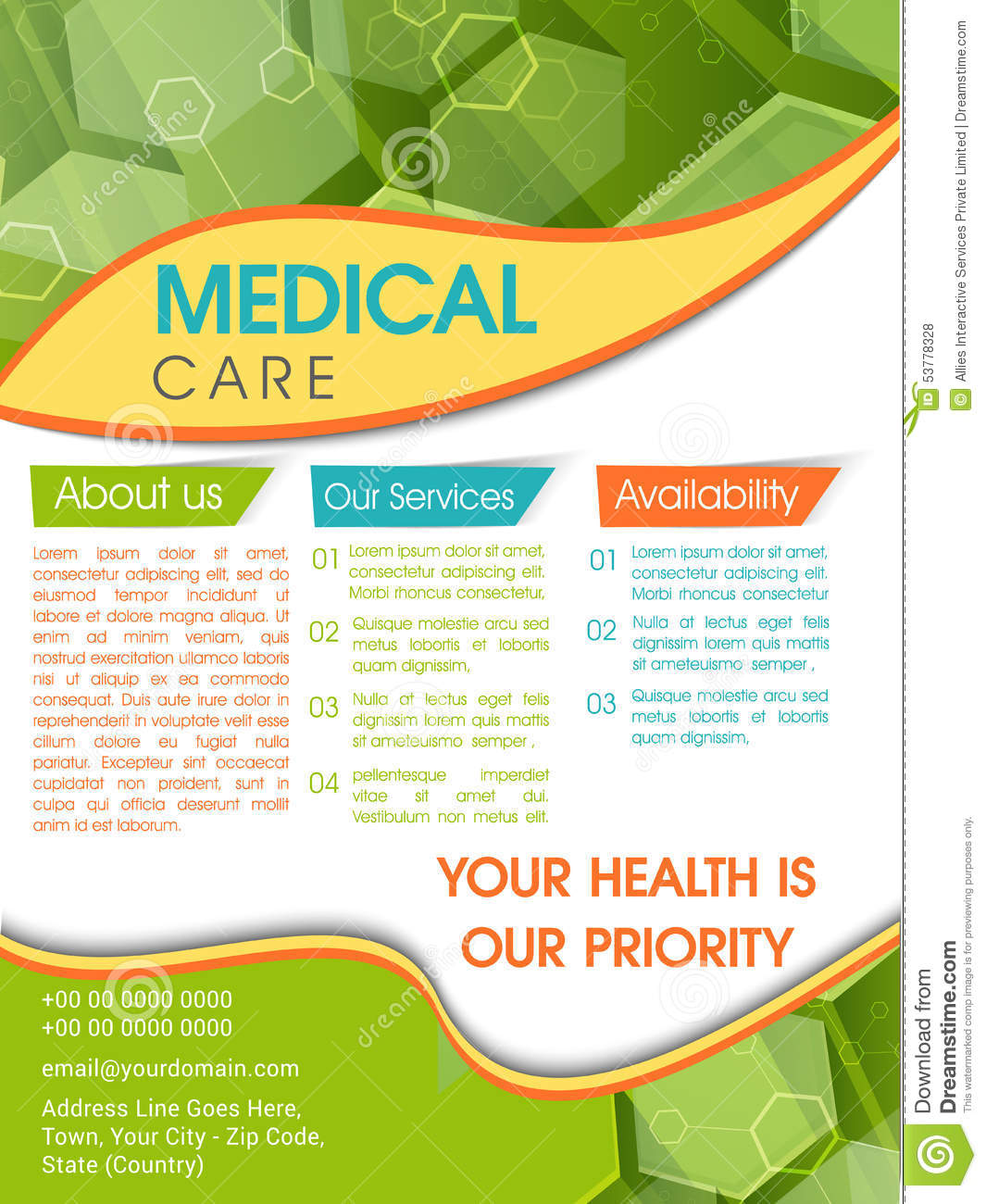 template  brochure or flyer for medical care  stock photo