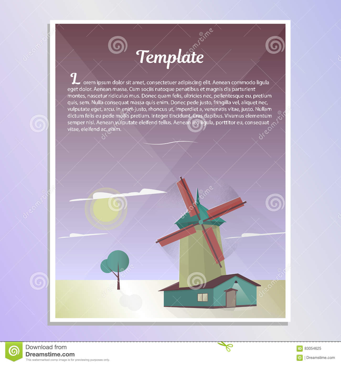 template brochure landscape with windmill vector illustration stock