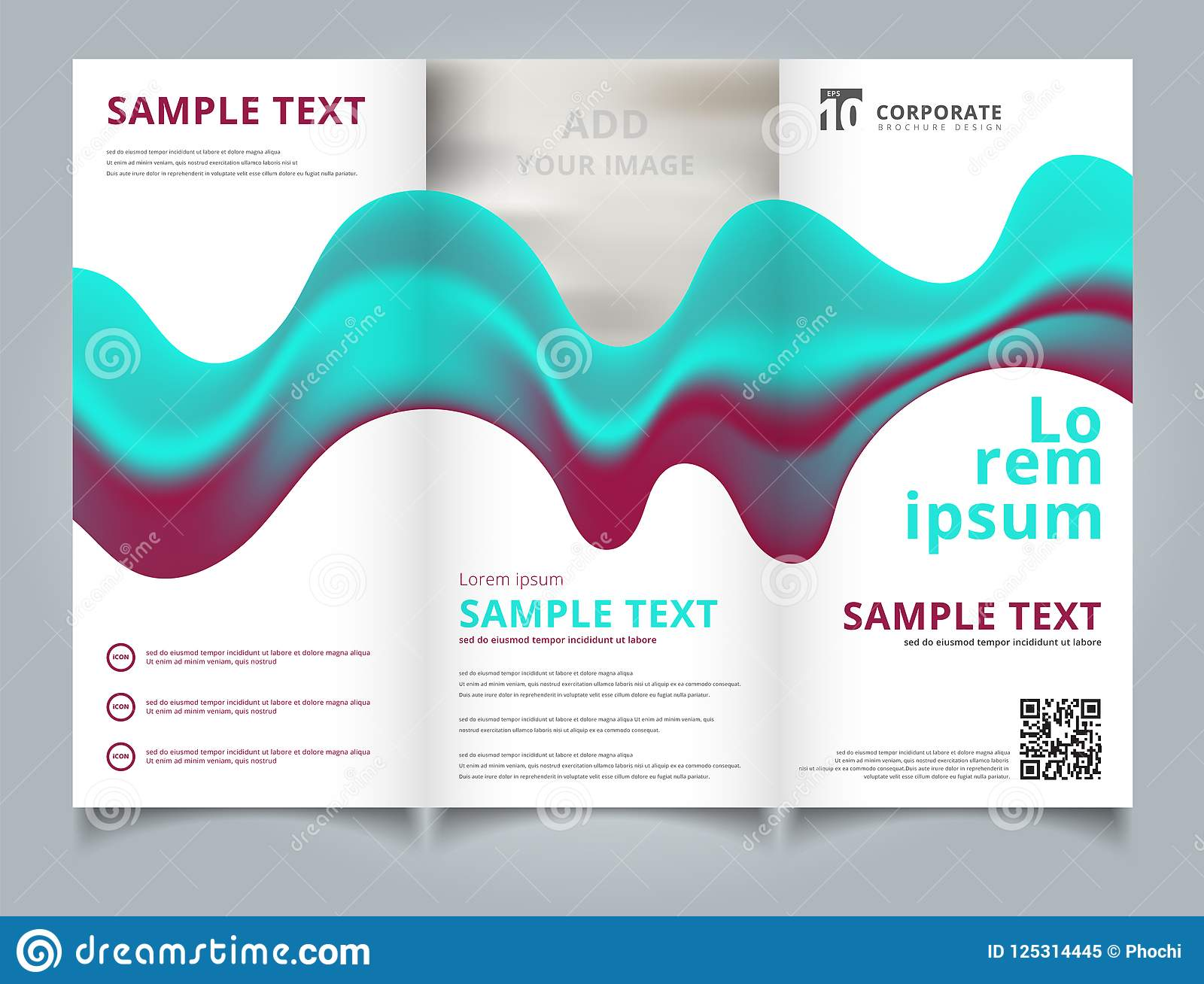 Template Brochure Layout Design Abstract 3d Blue And Pink Color