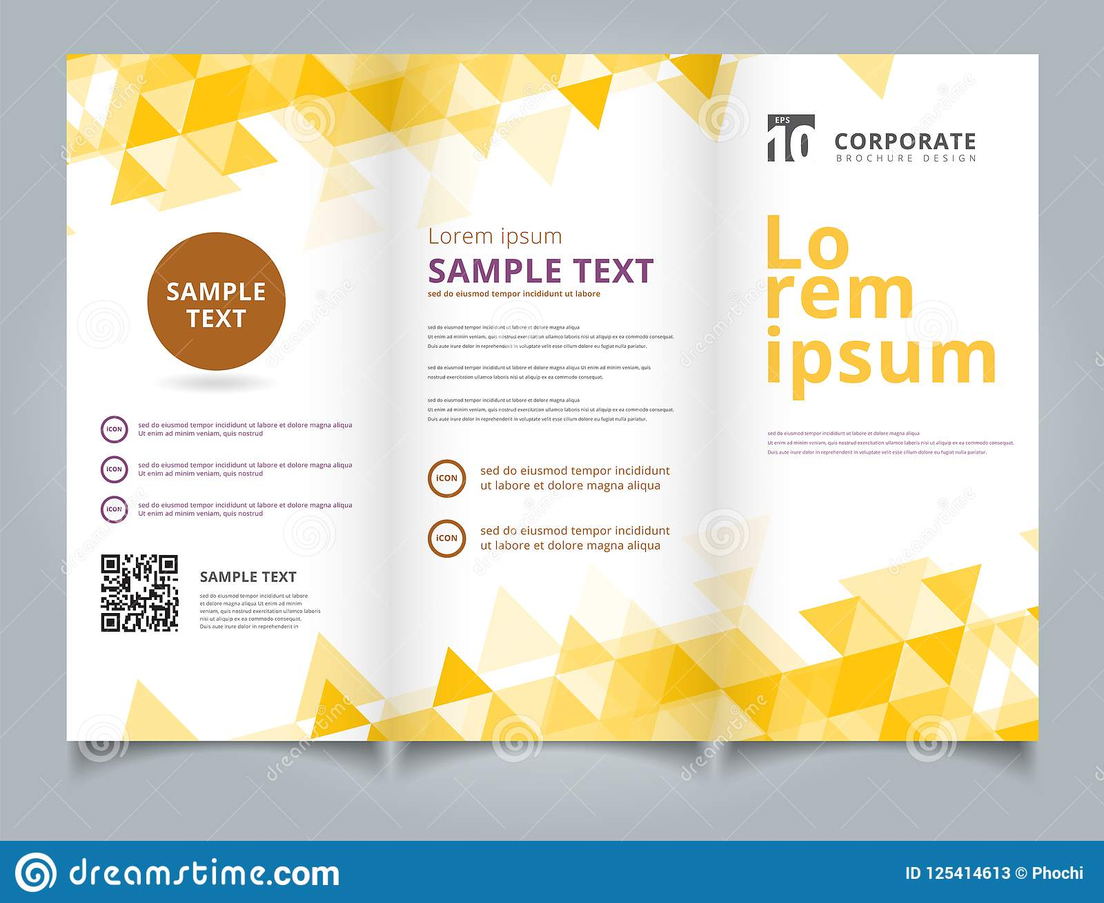 Template Brochure Layout Design Abstract Yellow Triangles Geomet
