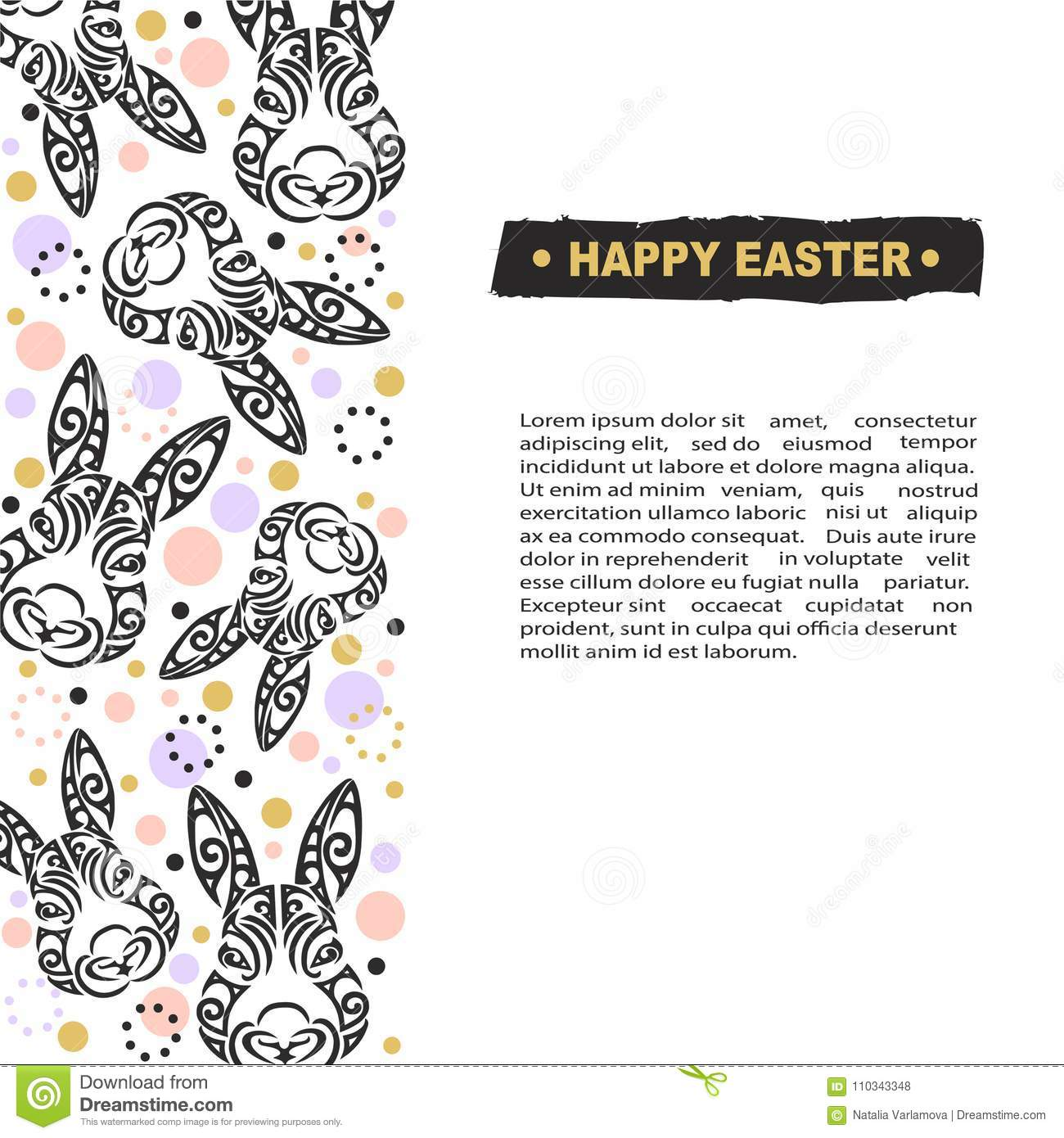 Template With Bunny Head For Happy Easter Day Stock Illustration ...