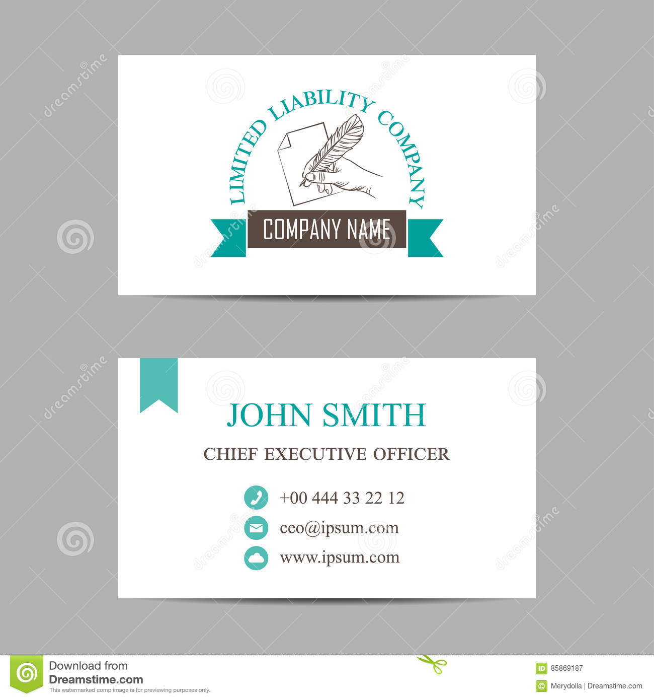 template of a business card with hand holding feather stock