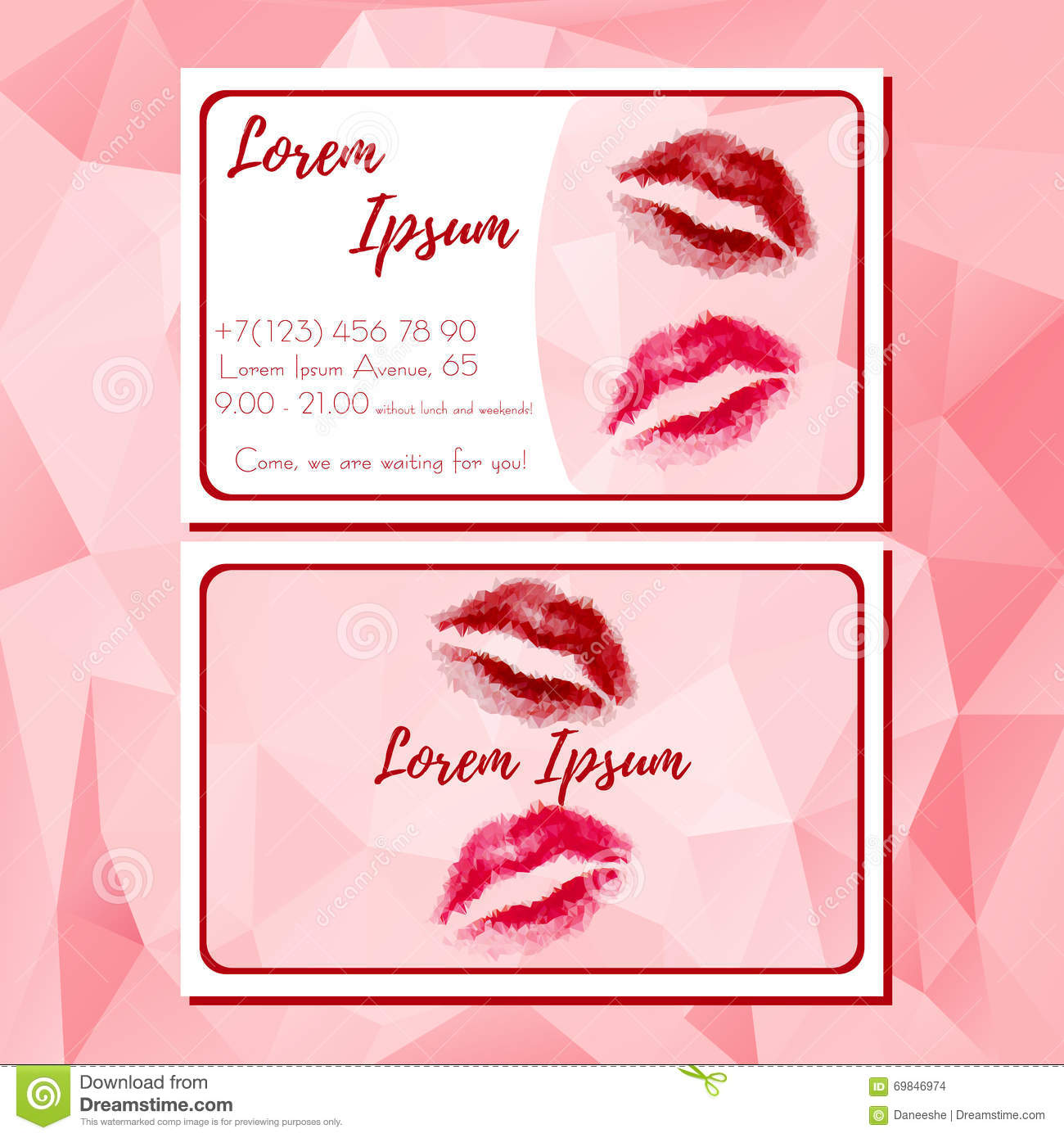 Template of business card with red polygonal lips stock vector template of business card with red polygonal lips colourmoves