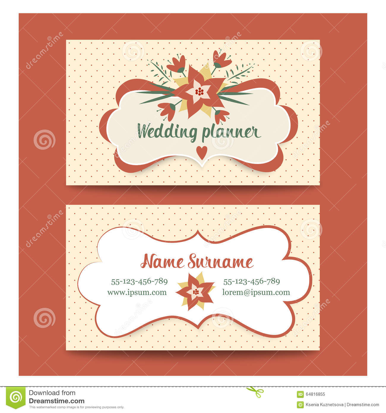 Template Business Cards For Wedding Planner Or Stock Vector ...