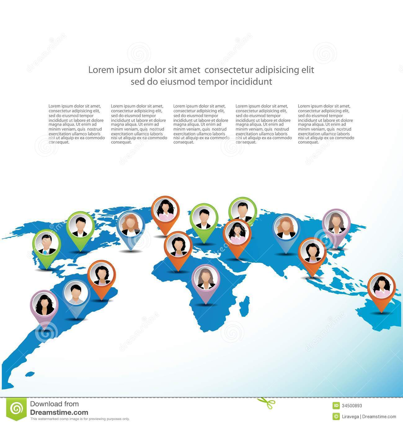Template of business people on the world map stock illustration template of business people on the world map gumiabroncs Gallery