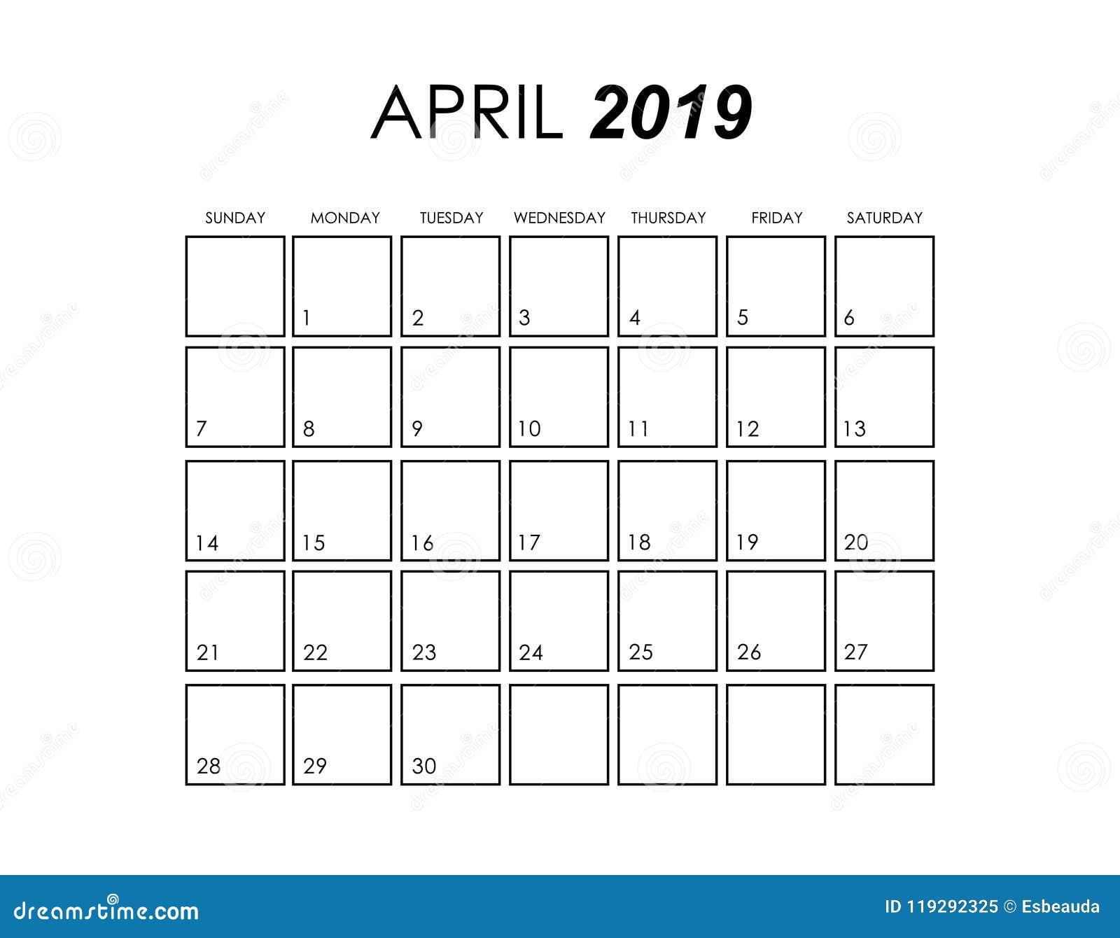 Calendar For April 2019 Stock Illustration. Illustration