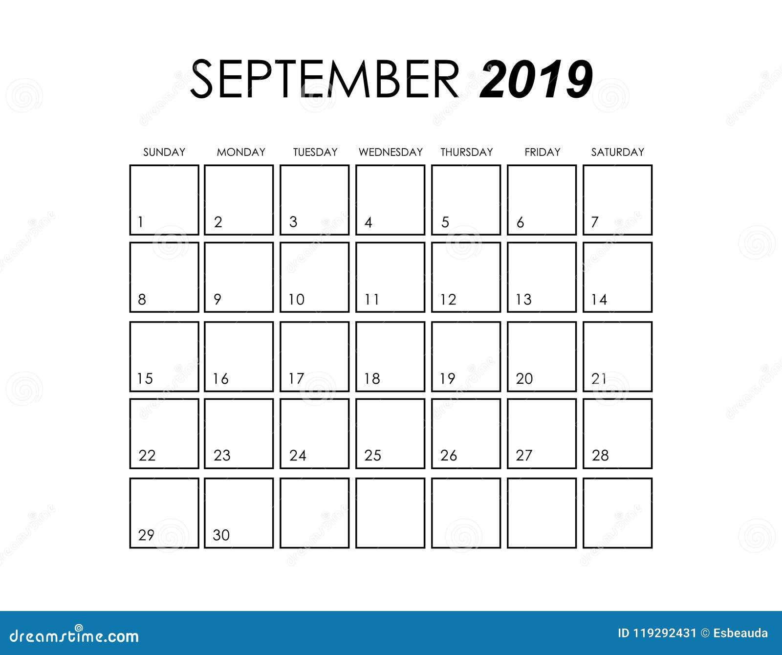 Calendar For September 2019 Stock Illustration